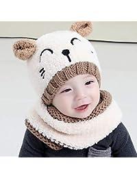 LUCHA 2 pcs Bébé Garçons Filles Hiver Chaud Tricot Chapeau Doux pour bébé  au Crochet Chat Mignon Bonnet Casquette Circle Écharpe… 93109aa12fc