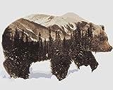 TianMai Malen nach Zahlen - Schnee Bär 16 * 20 Zoll Leinen Segeltuch - Digitales Ölgemälde Segeltuch Wand Kunst Grafik für Weihnachten Decor Geschenke (Ohne Frame)