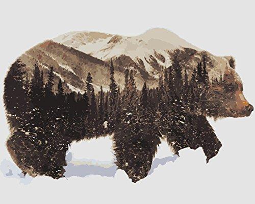ahlen - Schnee Bär 16 * 20 Zoll Digitales Ölgemälde Segeltuch Wand Kunst für Weihnachten Decor Geschenke - DIY Farbe durch Zahl für Erwachsene Kinder (Mit Rahmen) ()
