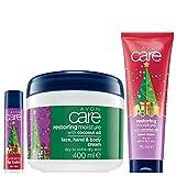 Avon Care Körperpflegeset WEIHNACHTSEDITION 3tlg.FamilyCreme/Handcreme/Lippenbalsam für trockene Haut mit Kokosöl