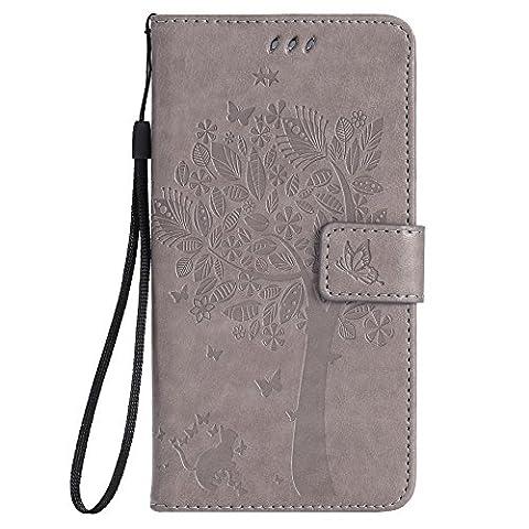 Chreey Coque Samsung Galaxy S6 Edge Plus / G9280 (5.7 pouces) ,PU Cuir Portefeuille Etui Housse Case Cover ,carte de crédit Fentes pour ,idéal pour protéger votre téléphone ,(arbre -