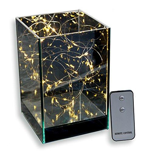 Skaize Lichtwürfel Leuchtwürfel Lichterketten Glas Lampe mit Fernbedienung (LED Lichterkette, Batterie-Betrieb) | Deko-Licht für Tisch...