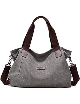 Damen Multifunktionen Canvas Handtasche Schultertasche Retro Stil große Kapazität für Party, Reise, Alltag, Arbeit
