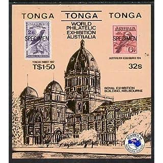 Tonga 1984 Ausipex Stamp Exhibition self-adhesive m/s opt'd SPECIMEN (Tongan Parrot stamp & Australian Kookaburra) u/m, as SG MS 892 BIRDS PARROTS STAMP ON STAMP JandRStamps