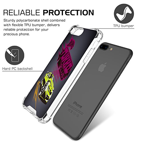 MoKo iPhone 8 Plus / iPhone 7 Plus Coque - [Résistant Aux Rayures] [Anti goutte & rayure] Etui Housse Series Halo Hybride avec TPU Pare-Chocs pour Apple iPhone 8 Plus / iPhone 7 Plus, Rose Clair Automobile