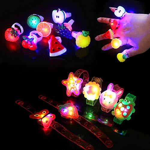 Xiangmall 35 PCS Juguete Luminoso Kit Fiesta Incluir 15 PCS Pulsera Luminosa y 20 PCS Anillos Con Luz LED para Navidad, Halloween, Conciertos, Fiestas de Cumpleaños (Estilo Aleatorio) Con Kit-led