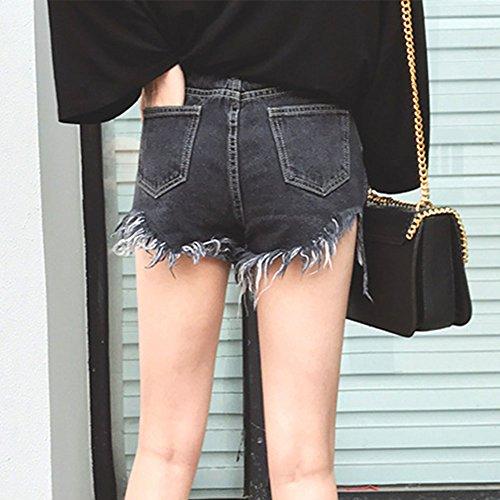 Femmes Vintage De Taille Haute Tassel Denim Shorts Court Jeans Noir