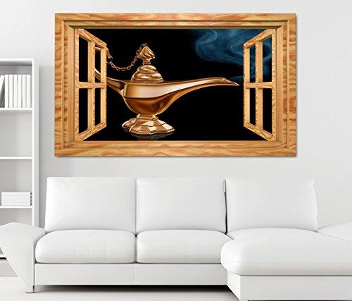 zimmer Märchen Lampe Dschinn Fenster selbstklebend Wandbild Tattoo Wand Aufkleber 11M1539, Wandbild Größe F:ca. 162cmx97cm ()