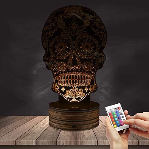 (Zucker Schädel 3D Optische Täuschung Glowing Lampe LED Nachtlicht Tischlampe Dekorative Beleuchtung 16 Farben Ändern USB Lade)