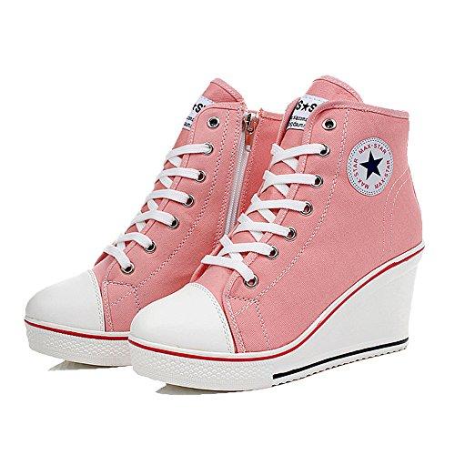 Damen Keilabsatz Schuhe Mädchen Canvas Sneaker Schuhe für Sport Freizeit Pink Größe 35-43 von QIMAOO (High-top-sneaker Pink)