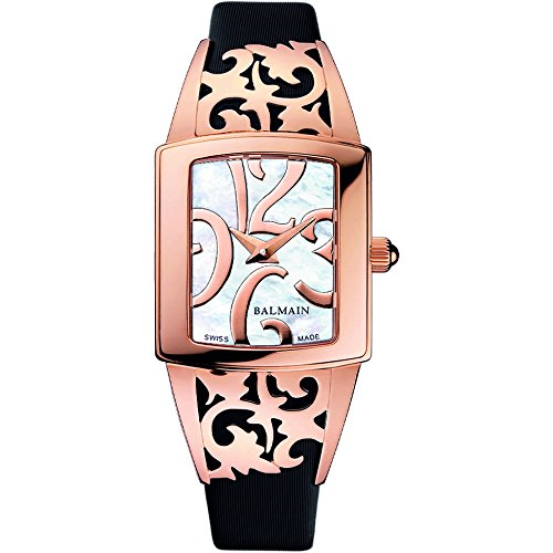 Balmain Women's Elysees Arabesques 27mm Black Leather Band Rose Gold Plated Case Quartz Watch B3379.32.85