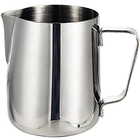 Milk Frothing Pitcher Jug | BluFied 12oz / 350ml Thicken 0.8mm Type Stainless Steel Pitcher Cup for Barista Cappuccino Espresso Coffee Cafe Latte Maker Art