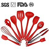 TWH 10 piezas de utensilios de cocina de silicona Juego de Cocina de Herramientas con, clip para alimentos, batidor, cepillo pequeño, rascador grande, rascador pequeño, cuchara de fugas, aspillador, raspador de mantequilla, espátula, cuchara (rojo)