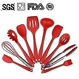 TWH 10 utensilssets, maison de cuisine en silicone cuisson Outils contient Fourchette à pâtes & # xff0 C; Cuillère-spatule en bois & # xff0 C; Pince & # xff0 C; Cuillère Ajourée & # xff0 C; Louche & # xff0 C; Turner & # xff0 C