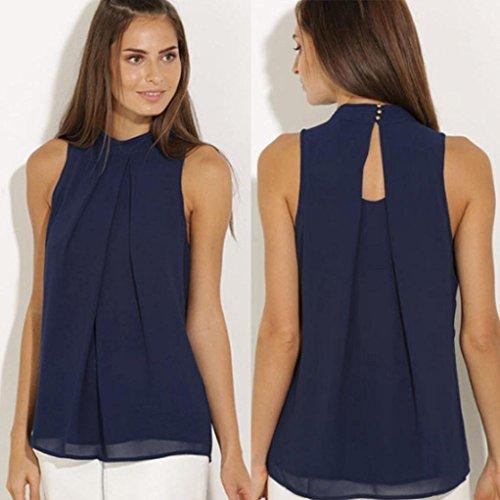Amlaiworld Femmes occasionnelles chemisier en mousseline de soie chemise T-shirt été Bleu