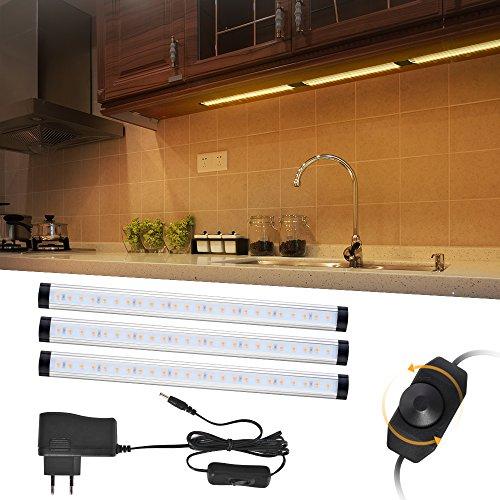 LED unter Kabinett Beleuchtung, 3PC LED Bewegungsmelder Schrankleuchten 12W 920LM 72LED Dimmable helles Lampen-warmes Weiß für Küche, Schrank, Kostenzähler -