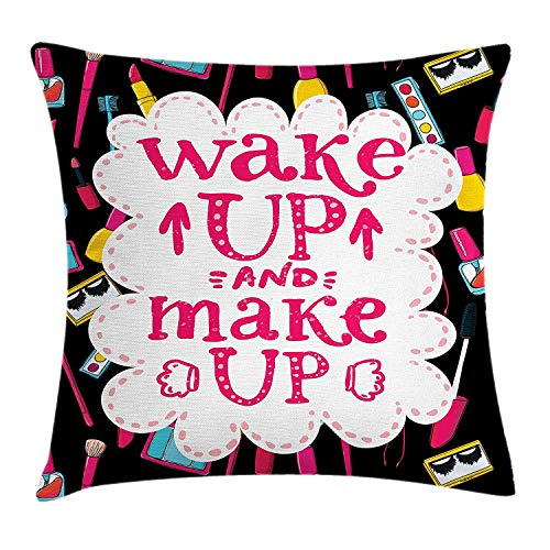VTXWL Quote Throw Pillow Cushion Cover, Witty Saying Wake up Make up with Cosmetic Icons Lipstick Mascara and Nail Polish, Decorative Square Accent Pillow Case, 18 X 18 inches, Multicolor