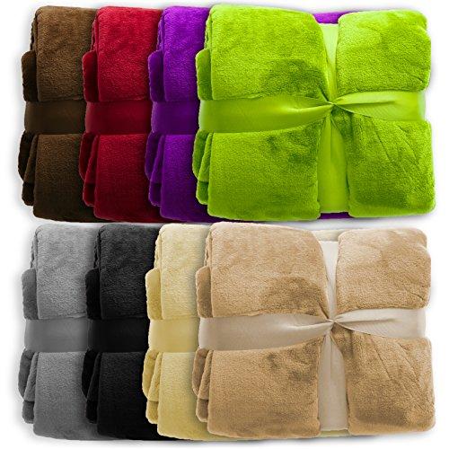 casa pura XXL Decke Glory | Uni Sand | super weiche Wohndecke/Kuscheldecke | 2 Größen und 8 Farben verfügbar | 150x200cm - Sand Mikrofaser Sofa