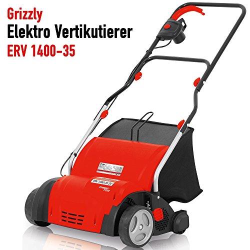 Grizzly Elektro Vertikutierer ERV 1400 elektrischer Rasenvertikutierer Rasenlüfter zur Gartenpflege 1400 Watt 35 cm Arbeitsbreite 4fach höhenverstellbar 40l Fangkorb empfohlen für Flächen bis 400 m²
