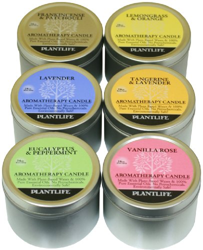 TOP 6 Aromatherapy Candles made with 100% pure essential oils Vanilla Rose,...