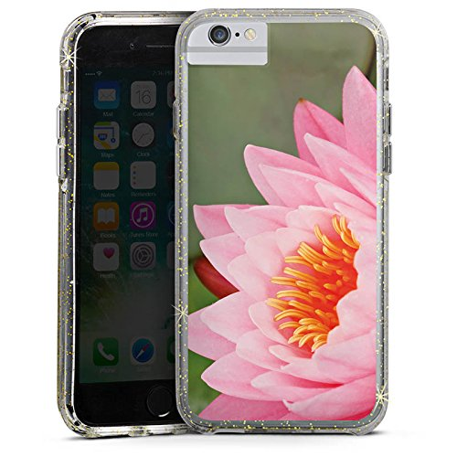 Apple iPhone 6s Bumper Hülle Bumper Case Glitzer Hülle Seerose Blume Flower Bumper Case Glitzer gold