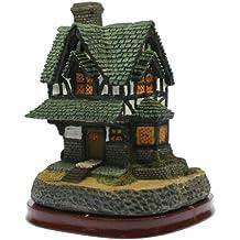 Casa de resina con luz interior - Cottage Inglés pequeño- Lámpara decorativa (15x 13 x 17 cm aprox.)