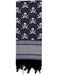 Shemagh - Skulls Tactical Style Desert Scarf/Keffiyeh, Black/White By Rothco