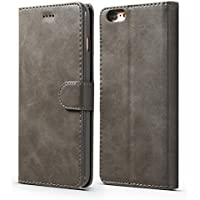 iPhone 5 5S SE Case,Premium Ultra Slim [Magnetic Closure] Retro Vintage Leather TPU Folio Inner Flip Wallet Stand with [Card Slots] Case Cover for iPhone 5/5S/SE - Grey