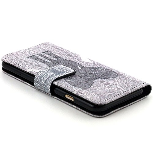 Più colorate Ancerson in pelle PU Flip Custodia Cover per Apple iPhone 6 4,7 inch in pittura ad olio Stil Colorful Painting Flip Case Custodia in similpelle custodia per cellulare con supporto scompar schwarzer Elefant