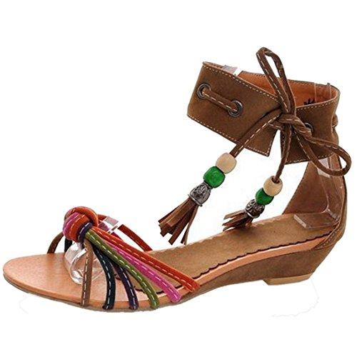 TAOFFEN Femmes Mode Compensees Boheme Sandales Lacets Bout Ouvert Chaussures Jaune