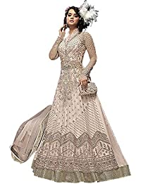 Deepmala Overseas Women's Net Anarkali Gown Style Lehenga And Pant Suit Dress (DE23007, Peach, Free Size)