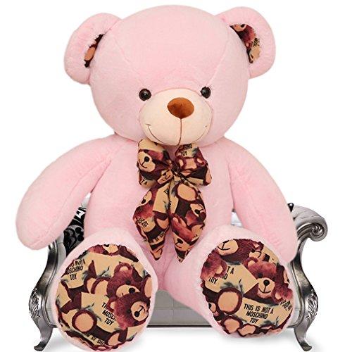 VERCART XXL 100cm Pink Teddy Bear Verschiedene Größen Bunte Fliege und Abdrücke Super weichen Plüschtier Stuffed Animals - Valentines Riesen Teddy Bär