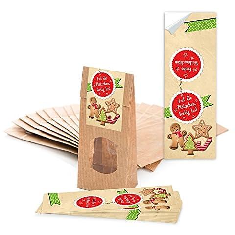 """50 braune Papiertüten mit Fenster und Pergamineinlage (7 x 4 x 20,5 cm) und 50 Weihnachts-Aufkleber Sticker """"Auf die Plätzchen..."""" zum liebenvollen Verpacken von Gebäck Pralinen Tee und kleinen Geschenken; 1a Qualität!"""