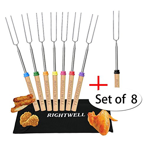 Rightwell Set of 8 BBQ Telescopico Spiedini con Manico in Legno e Forchettina in Acciaio per Hot Dog Cuocere Marshmallows,Salsiccia,Wurstel