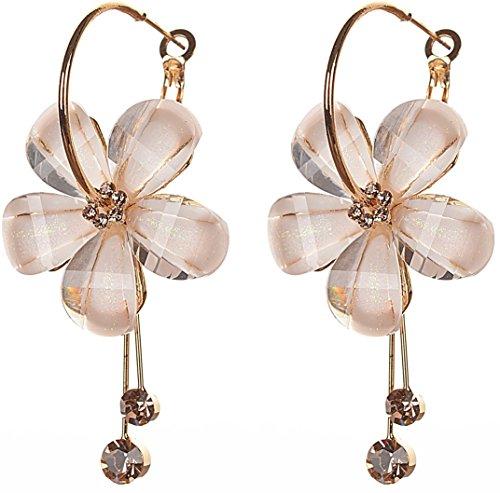 Zephyrr White Peach Stone Hoop Earrings For Women
