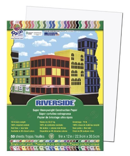 Pacon Riverside Construction Paper, 76 Pounds, 9 x 12 Inches, White, 50 Sheets/Pack (103589) by Pacon Corp. (English Manual)