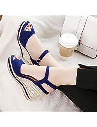 HUAHUA Sandalen Weiblichen Wild Leder mit Einer Rauhen und Semi Baotou Frauen Schuhe Stilvolle Lack Leder Schuhe...