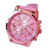 Lucky mall Frauen Genf römischen Ziffern Uhr, Kunstleder Uhr Analoge Quarz-Armbanduhr