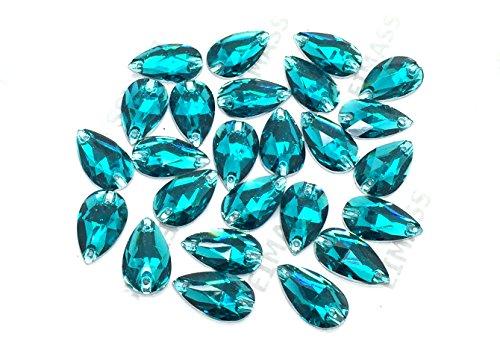 Eimass® Strasssteine/Glitzersteine, Tropfenform, zum Aufnähen- oder Aufkleben, flache Rückseite, für Kostüme,50Stück., Blauer Zirkonia, 17 x 28mm (Flache Rückseite Blaue Edelsteine)