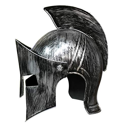 By Robelli Brushed Metal Effect Plastic Fancy Dress Medieval Knights/Roman Gladiator Helmets (Medieval Knight)