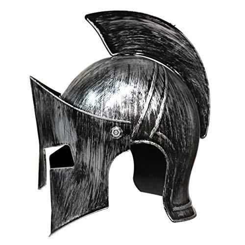 Kostüm Knight Metal - By Robelli Brushed Metal Effect Plastic Fancy Dress Medieval Knights/Roman Gladiator Helmets (Medieval Knight)