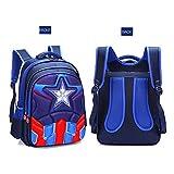 LULUDP Cartables Nursery Bag Captain America Enfant Cartable Elèves 1-6 Ans Garçon Spiderman Maternelle Sac À Dos (2 Tailles) Sacs d'école (Color : Blue Captain America, Size : XL)