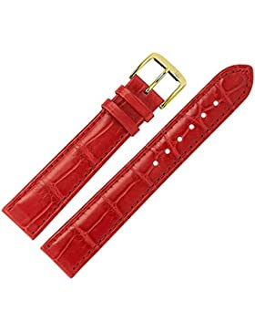 MARBURGER Uhrenarmband 18mm Leder Rot - Louisiana Alligatorleder, Alligator Prägung - Inkl. Zubehör - Ersatzarmband...