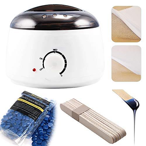 Dr.Taylor Haarentfernungs-Kit, Wachswärmer + Enthaarungswachs-Bohnen 3 Packs + Wax Smearing Sticks 20 Stück, Elektrische Wachs-Heizmaschinensätze für Männer und Frauen