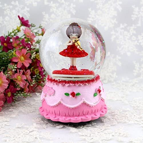 Weekendy Jouet drôle de bébé Fleur Fée Fille Fille Fille Cristal Bal Rotation Music Box Flocon De Neige pour Les  s Cadeau d'anniversaire-Rose Rouge | Une Bonne Conservation De Chaleur  b309c9