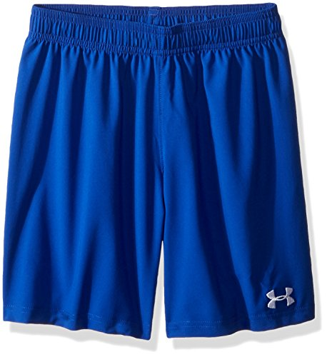Under Armour Boys' Hustle Shorts, Royal/White, Youth Small (White Shorts Soccer Royal)