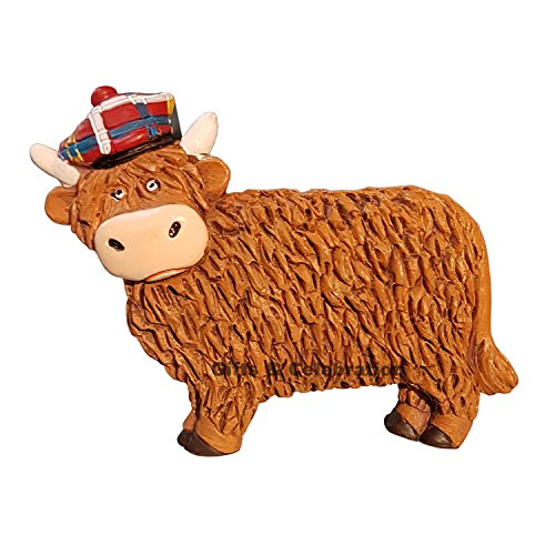 Schottland Kühlschrank Magnet-Highland Kuh mit karierter Mütze, Souvenir und Geschenk - Kuh-magnet