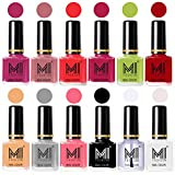 #10: MI Fashion® Non-Toxic Premium Longest Lasting Nail Polish Sets of 12 in Wholesale Rate-Plum,Nude Spring,Coral,Pink,Lime Green,Red,Nude,Grey,Pink,Black,Top Coat,White