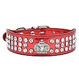 Hundehalsband Halsbänder aus Bling PU Leder,mit Strass Krone und Diamante Stein,Blau Lila Pink Rot Wählbar, XS S für kleine Hunde wie Chihuahua Spitz, Rot S
