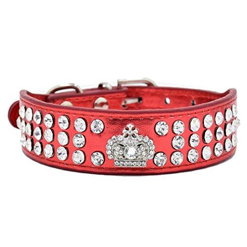 Generisches Hundehalsband Halsbänder aus Bling PU Leder,mit Strass Krone und Diamante Stein,Blau Lila Pink Rot Wählbar, XS S für kleine Hunde wie Chihuahua Spitz, Rot S -